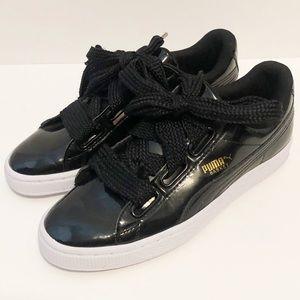 Puma basket black patent sneaker size 7.5